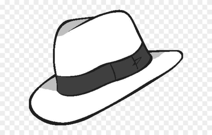 Whit transparent background . Fedora clipart black and white