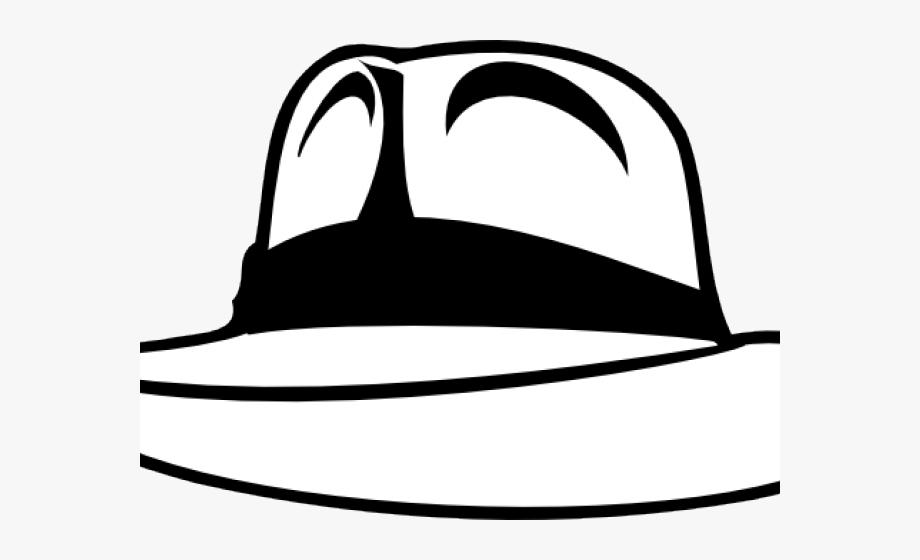 Fedora clipart black and white. Whit indiana jones hat