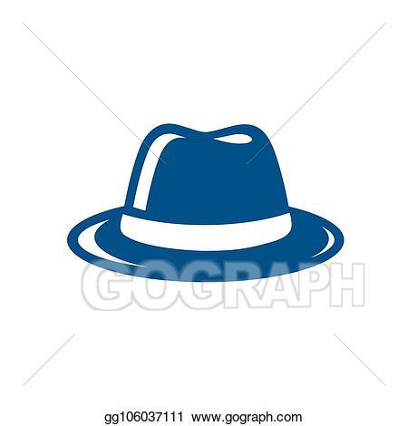 Vector stock hat illustration. Fedora clipart blue