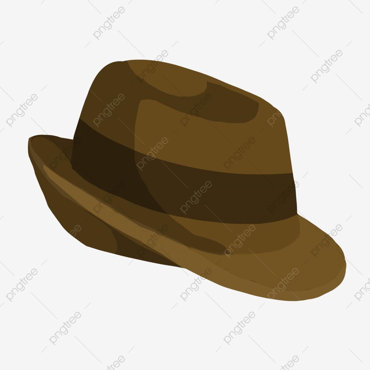 Brown vintage men s. Fedora clipart detective hat