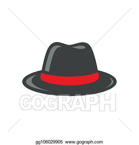 Vector stock black illustration. Fedora clipart grey hat