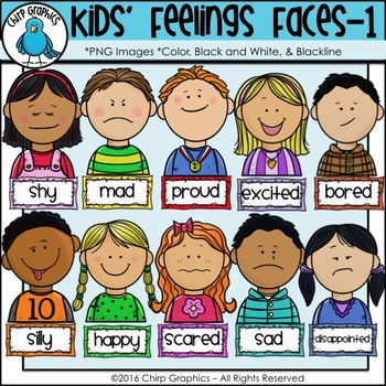 Feelings clipart. Kids faces clip art