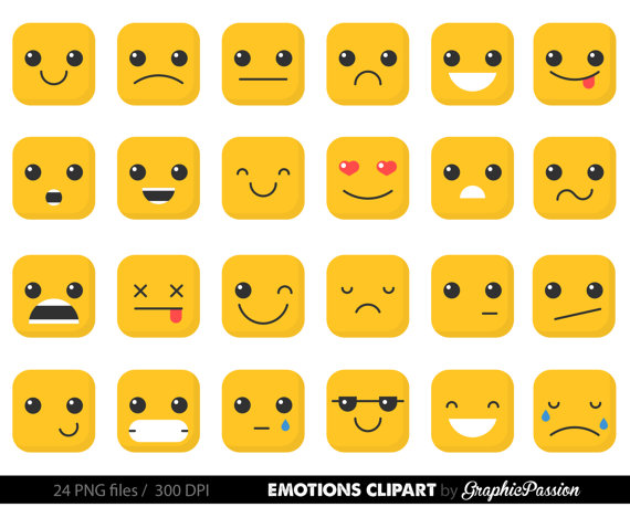 Feelings clipart. Emotion faces collage sheet