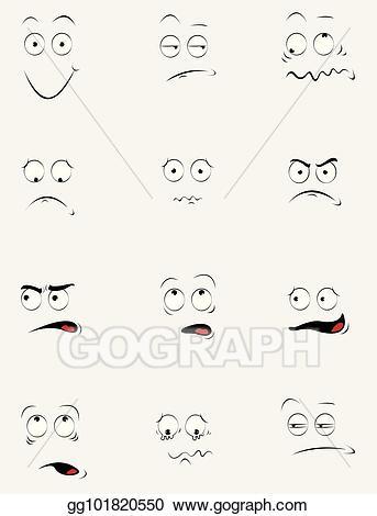 Vector stock funny faces. Feelings clipart cartoon face