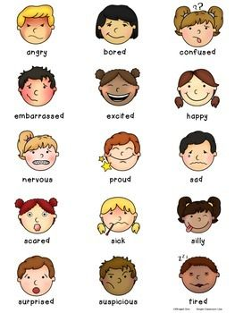 Feelings clipart face student. Emotions vocabulary for students