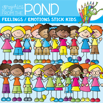 Emotions stick kids for. Feelings clipart teacher