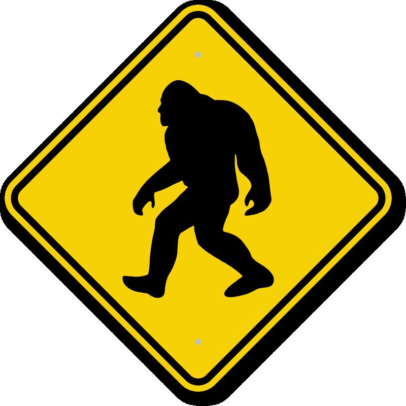 Foot clipart bigfoot. Sasquatch big crossing signs