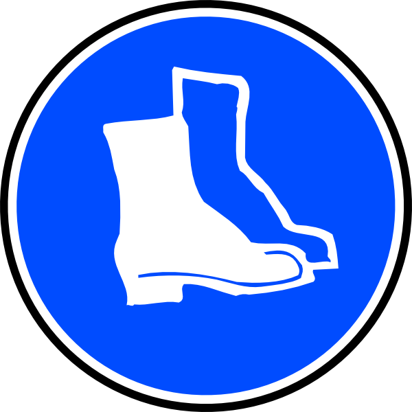 Mandatory protection hard boots. Feet clipart blue foot