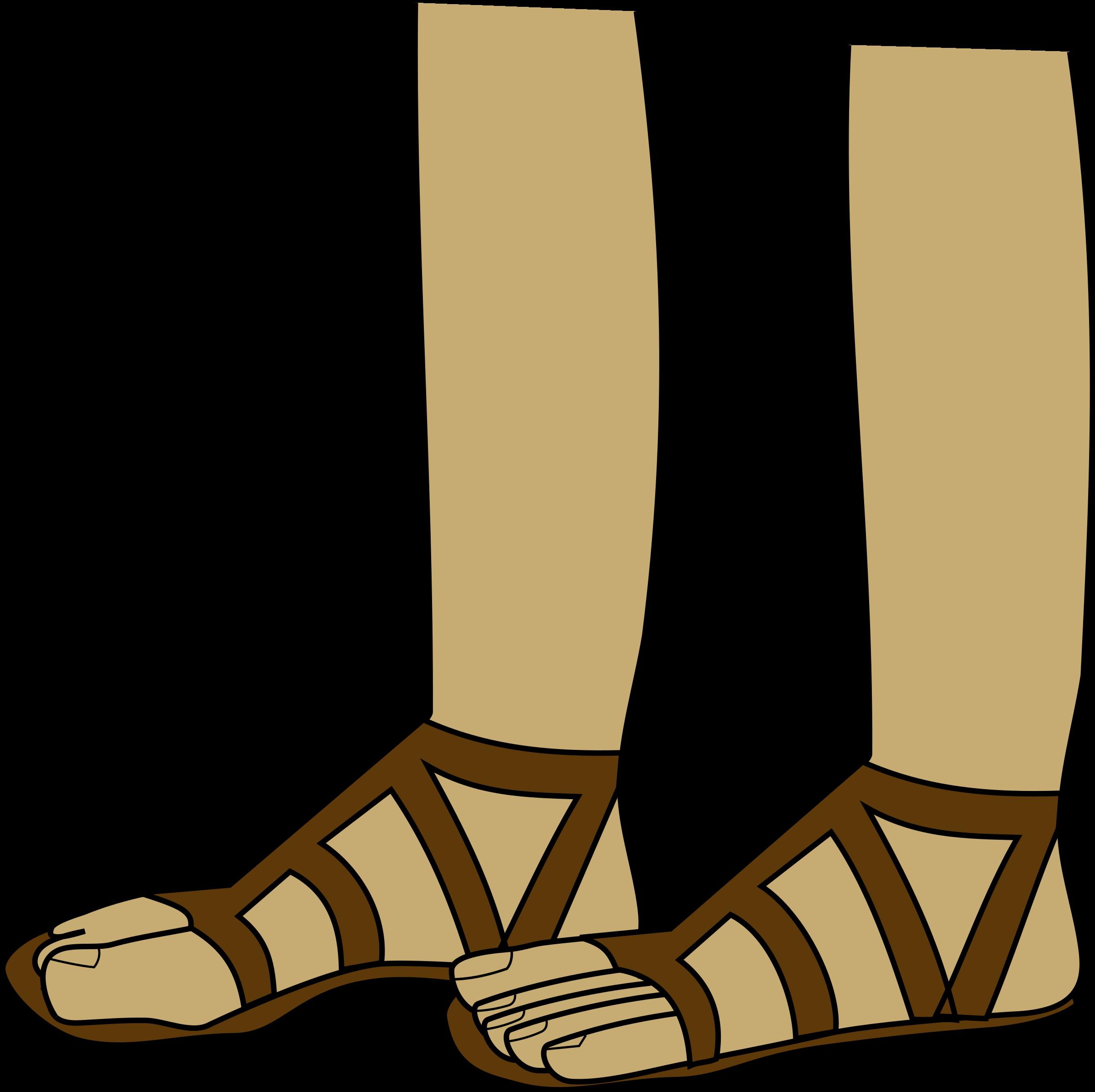 Feet in sandals big. Footprint clipart dress shoe