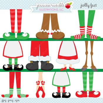 Jolly feet cute digital. Foot clipart christmas