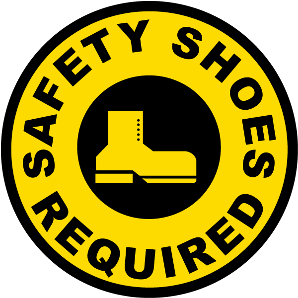 Foot clipart floor clipart. Safety shoes required sign