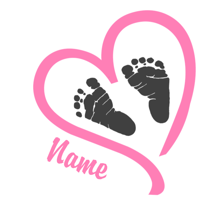 Baby pink personalized maternity. Feet clipart foot design