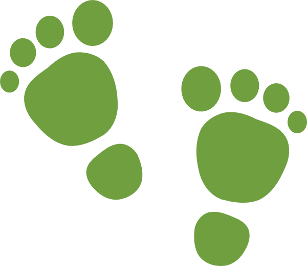 Footsteps clipart traces. Green feet clip art