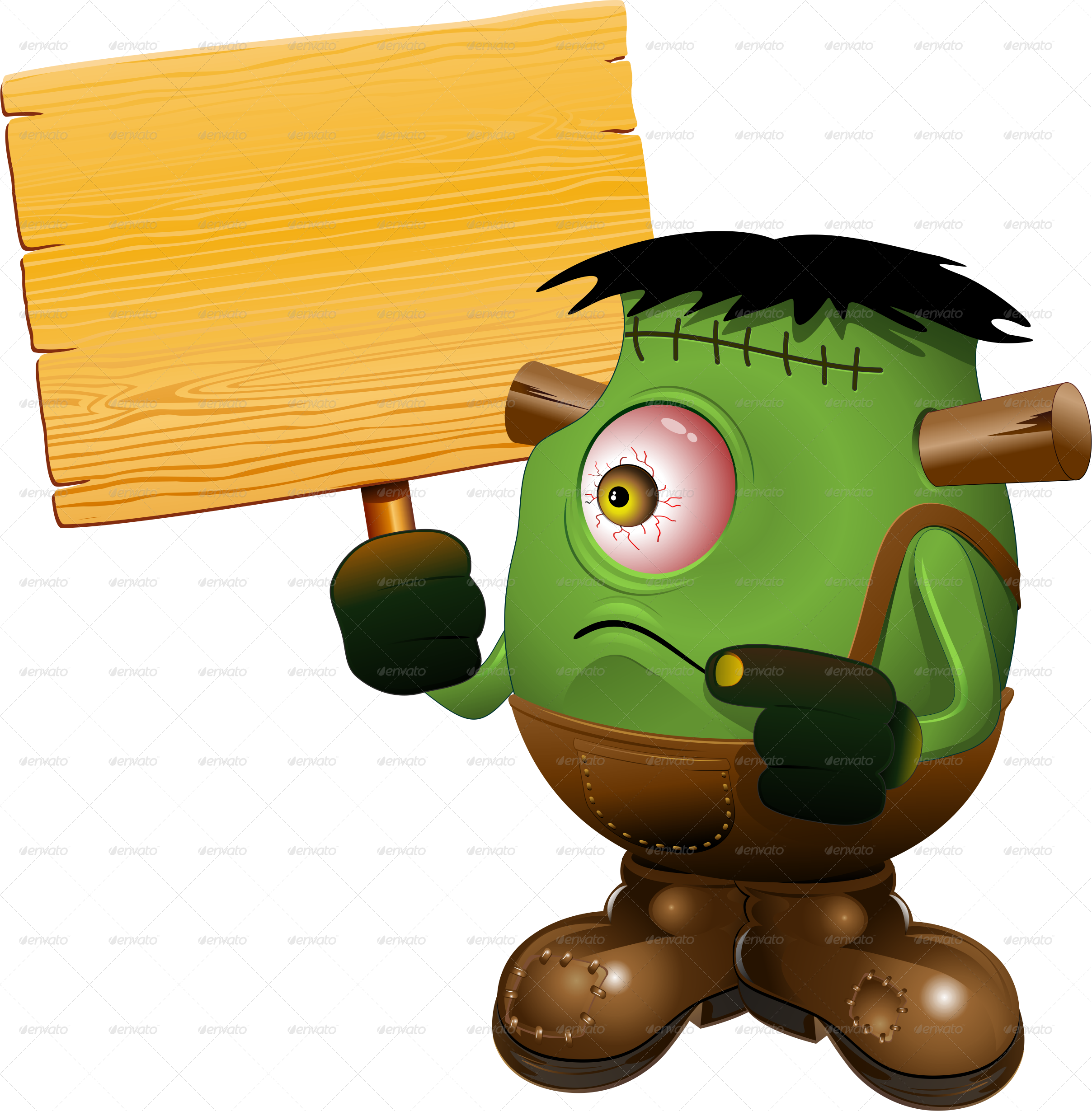 Monster one eyed cartoon. Frankenstein clipart item