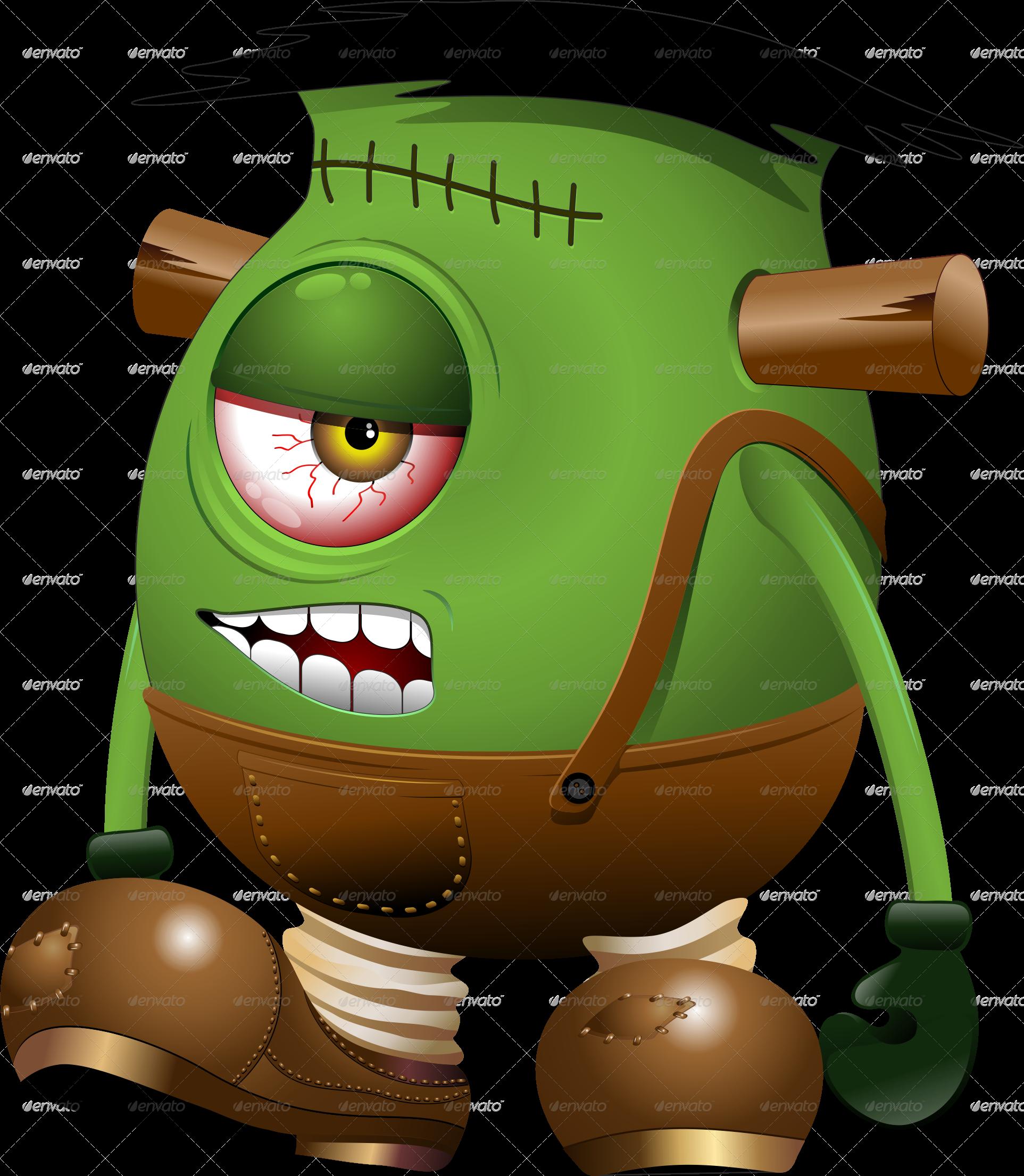 Frankenstein clipart item. Monster one eyed cartoon