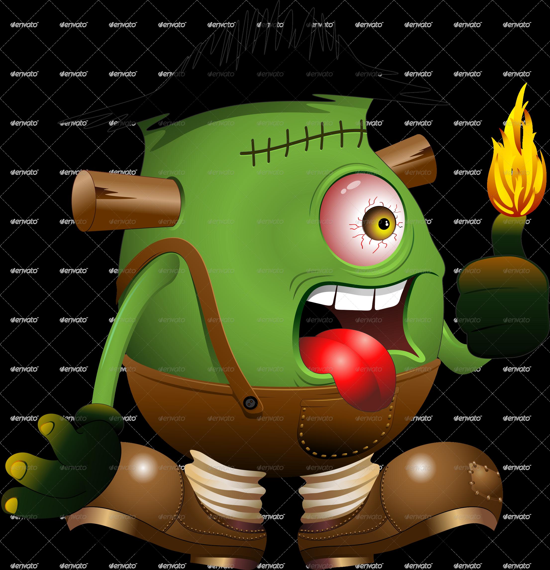 Foot clipart frankenstein. Monster one eyed cartoon