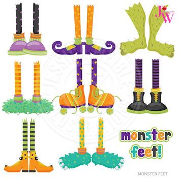Foot clipart monster. Feet cute digital halloween