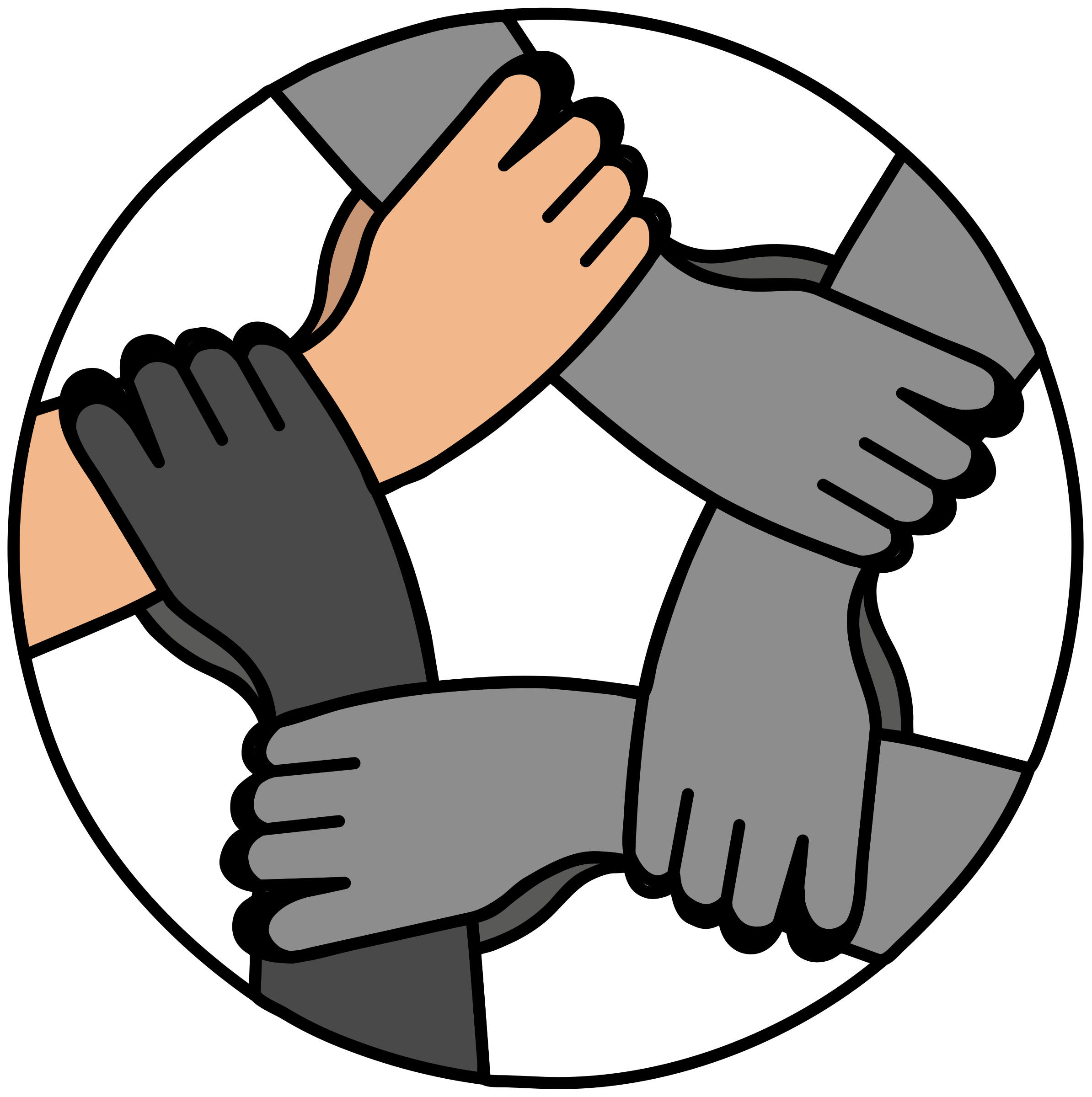 Hands united big image. Finger clipart hand foot
