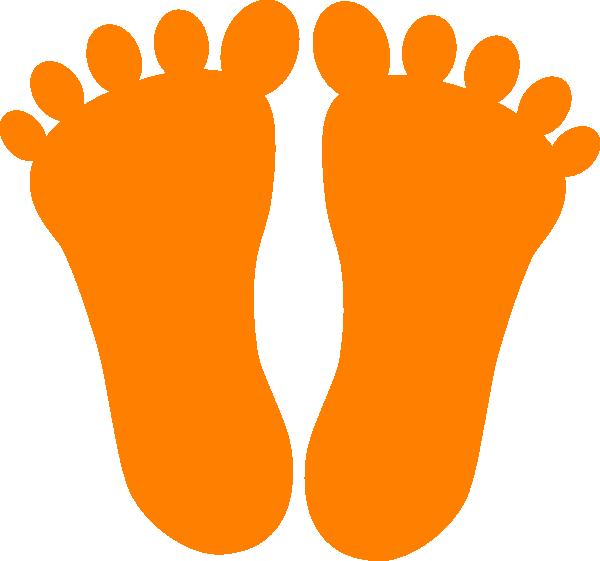 Orange clip art at. Footprints clipart coloring page