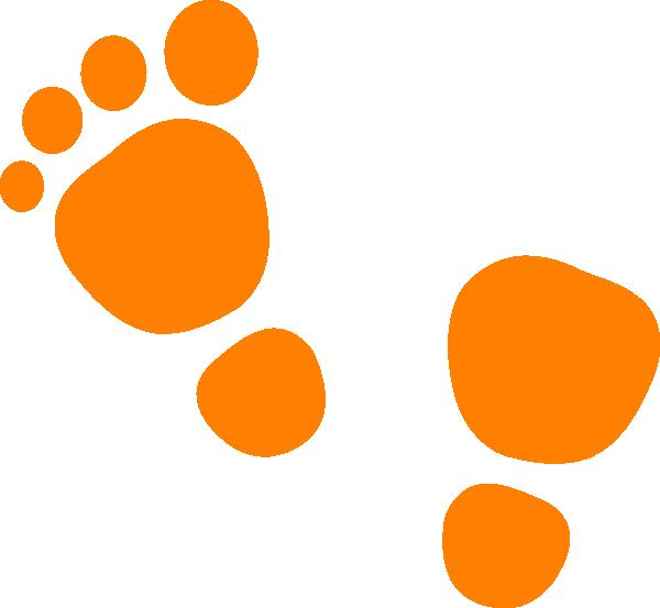 Footprint clipart walking. Orange feet clip art