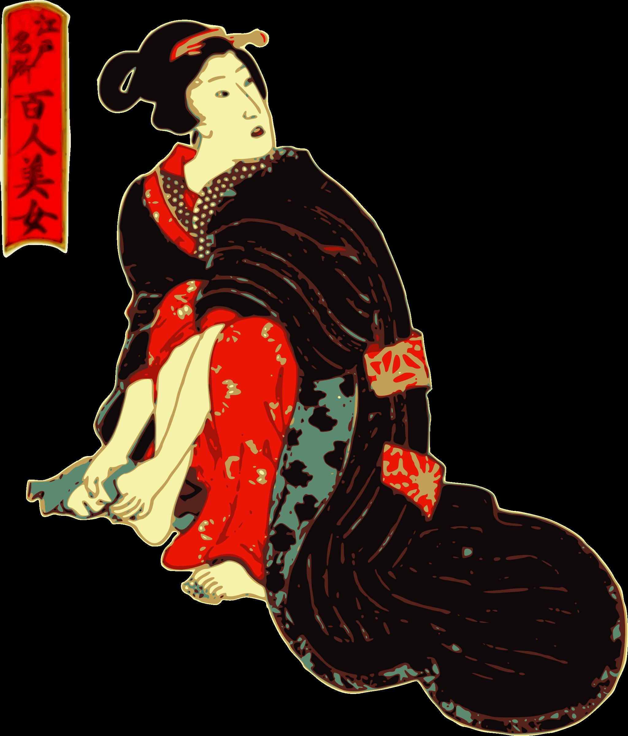 Woman in a kimono. Feet clipart person