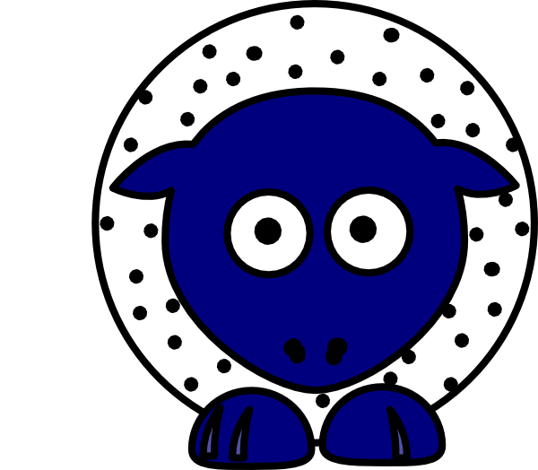 White with black polka. Foot clipart sheep