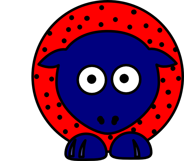 Feet clipart sheep. Red with black polka