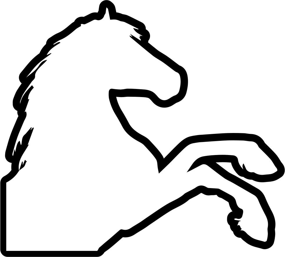 Foot clipart side view. Horse raising feet outline