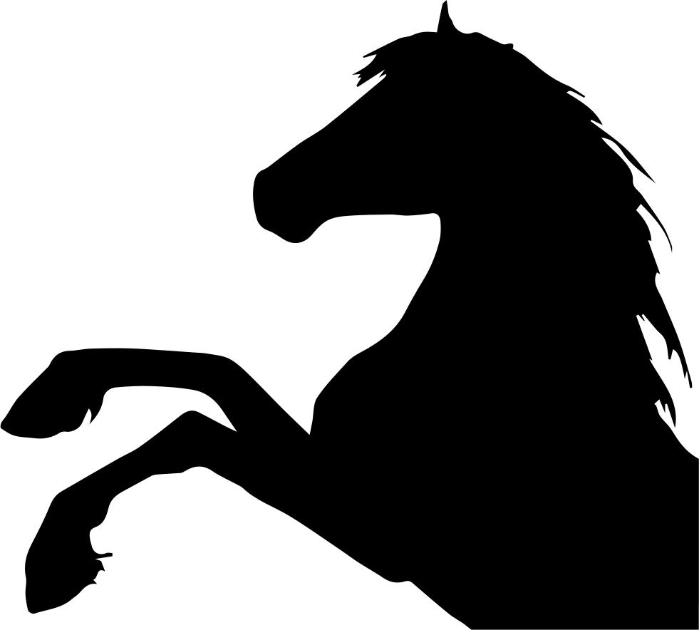 Horse raising feet silhouette. Foot clipart side view