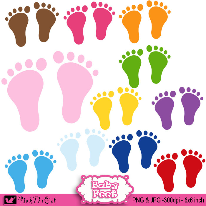 Instant download baby colors. Feet clipart small foot