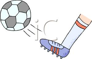 A Foot Wearing a Cleat Kicking a Soccer Ball - Clipart