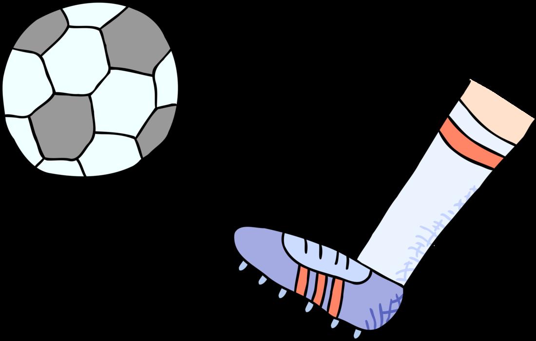 Foot clipart soccer. Kicks football ball vector