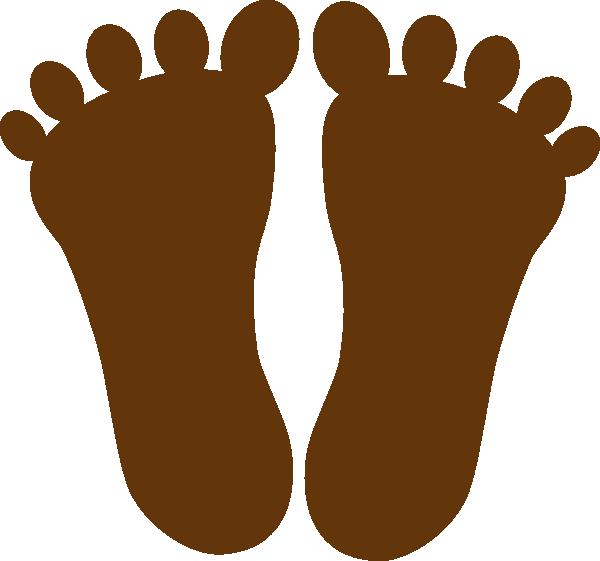 Dark brown footprints clip. Feet clipart toe