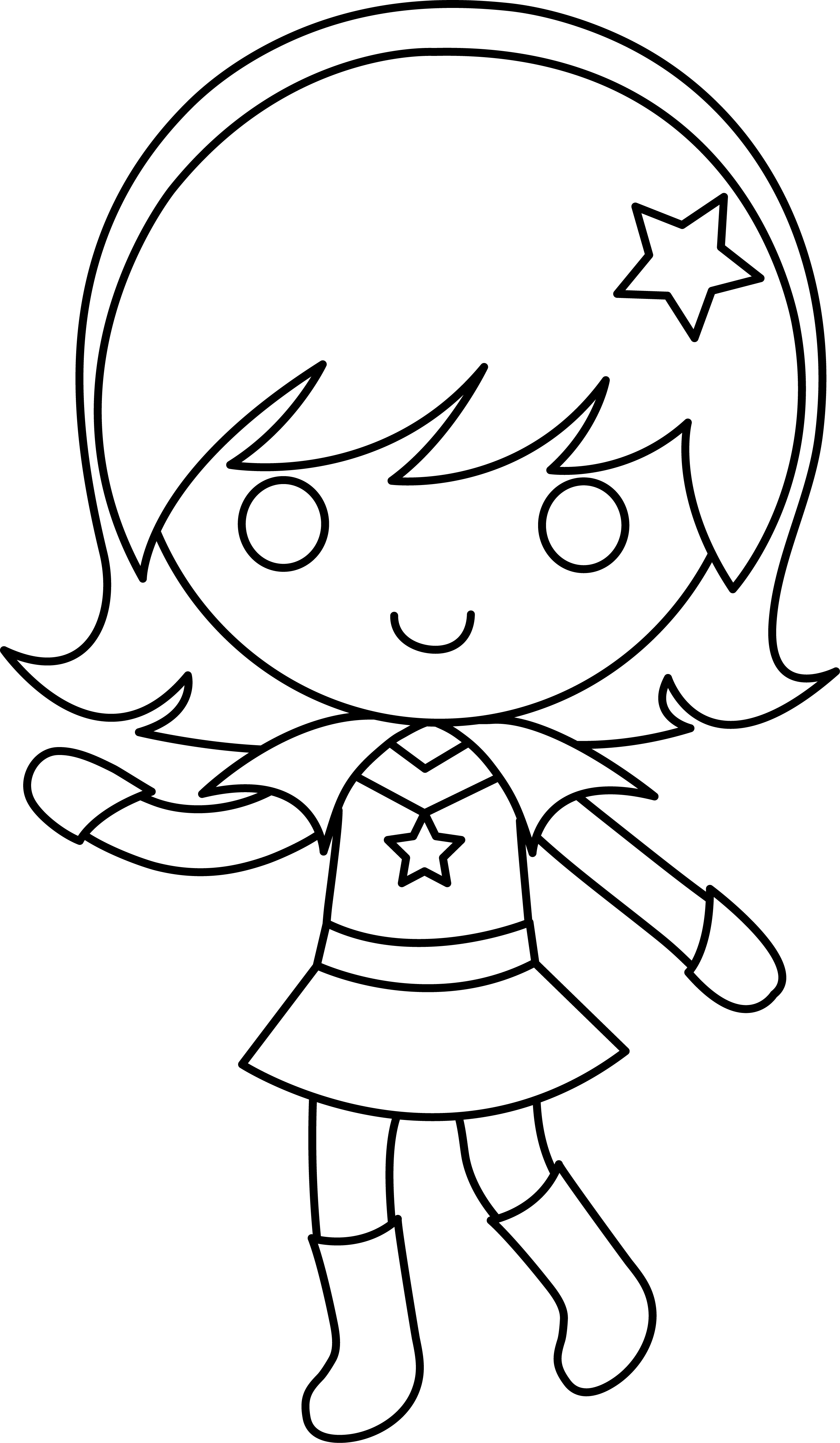 Girly clipart black and white. Drawing of girl at