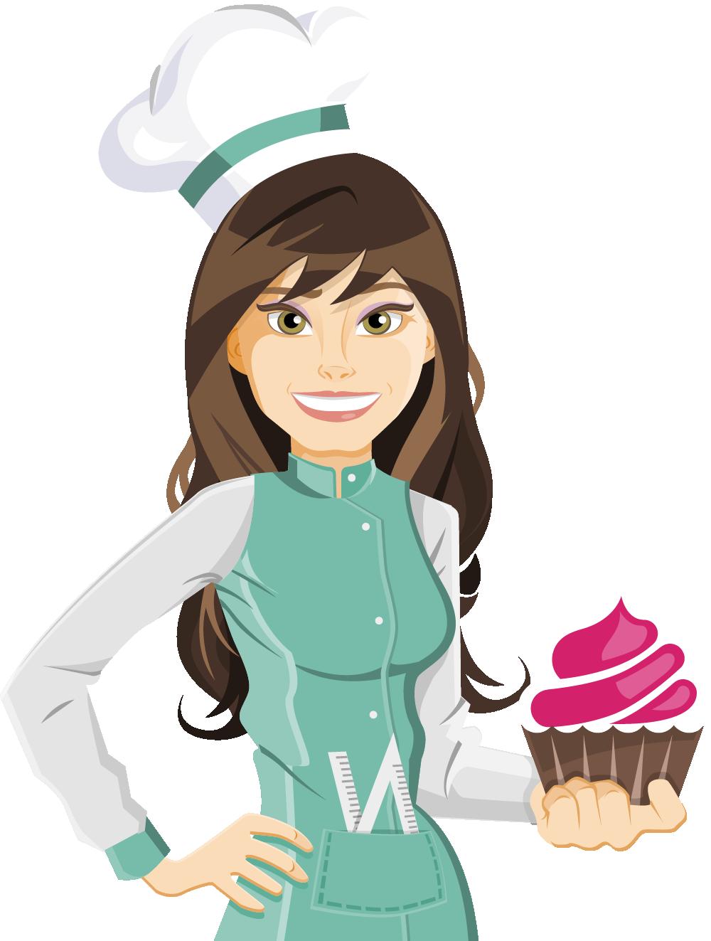 Cozinheiros a cute chef. Female clipart caterer