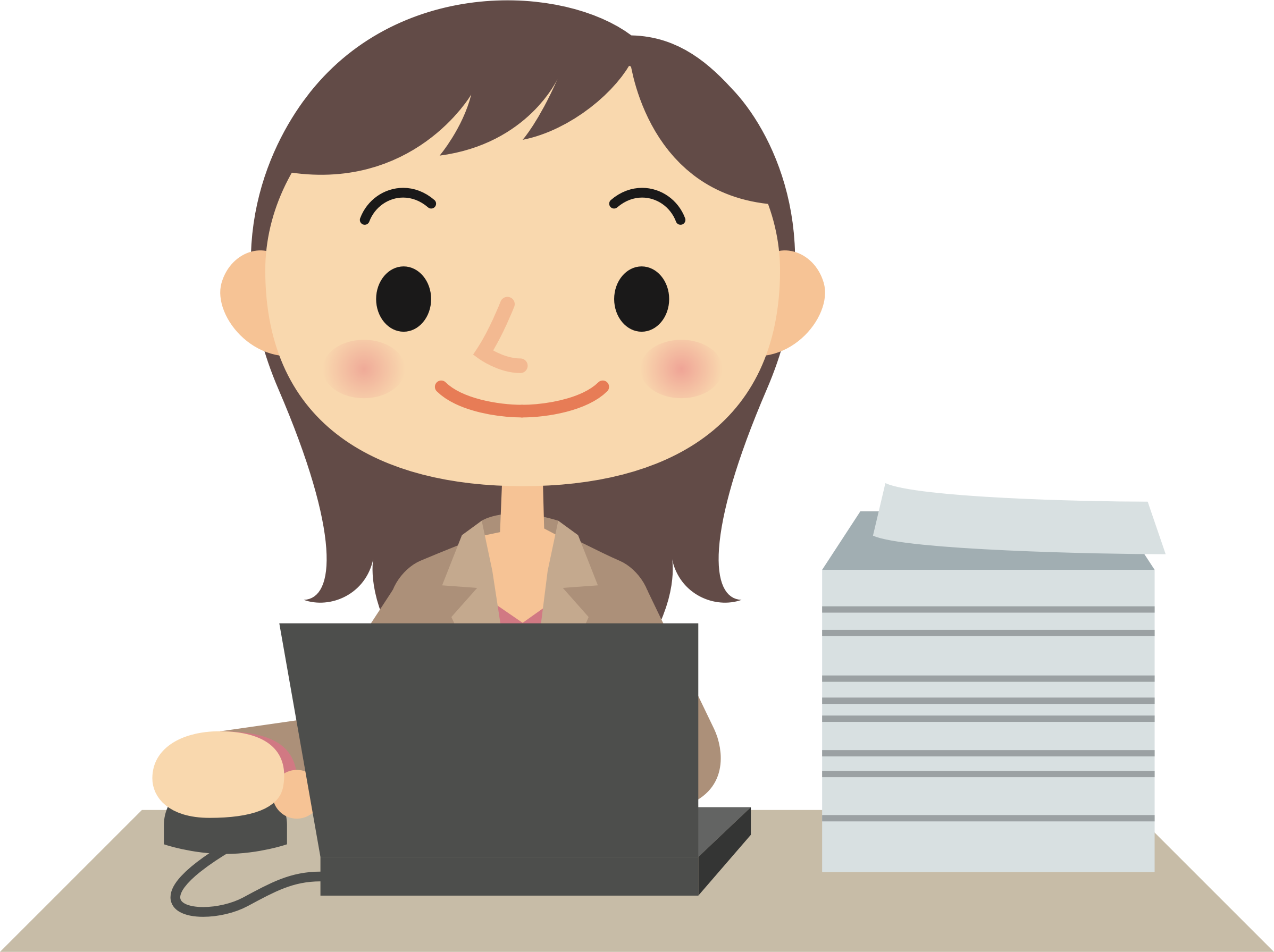 Female computer user big. Paper clipart typing a