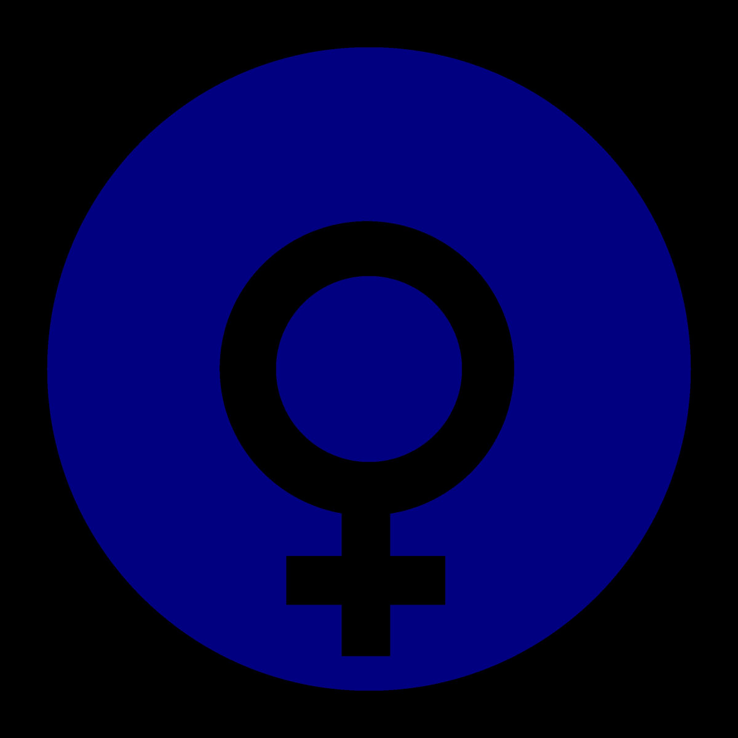 Female clipart female gender. Symbol in a circle