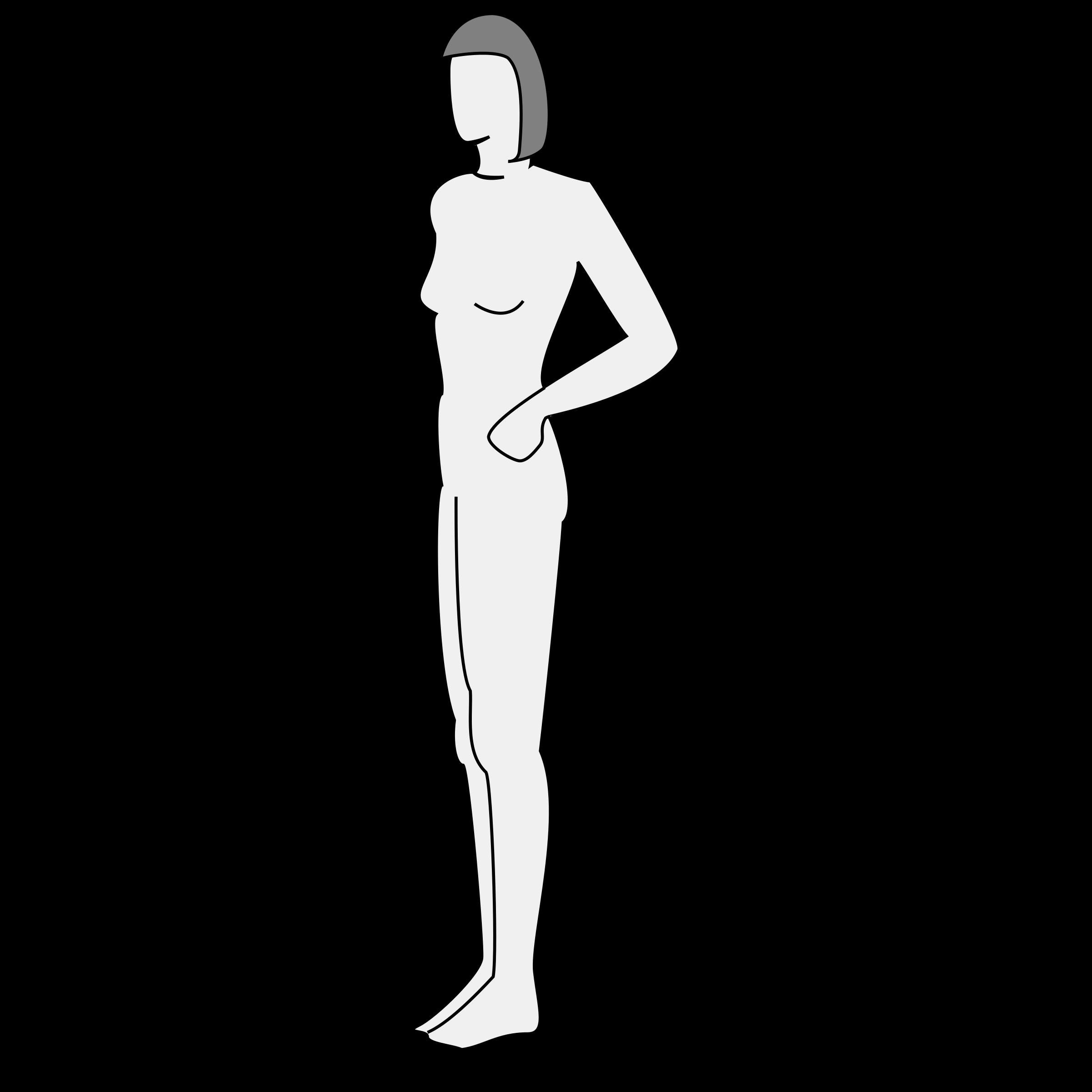 Female clipart female human. Body silhouette side big