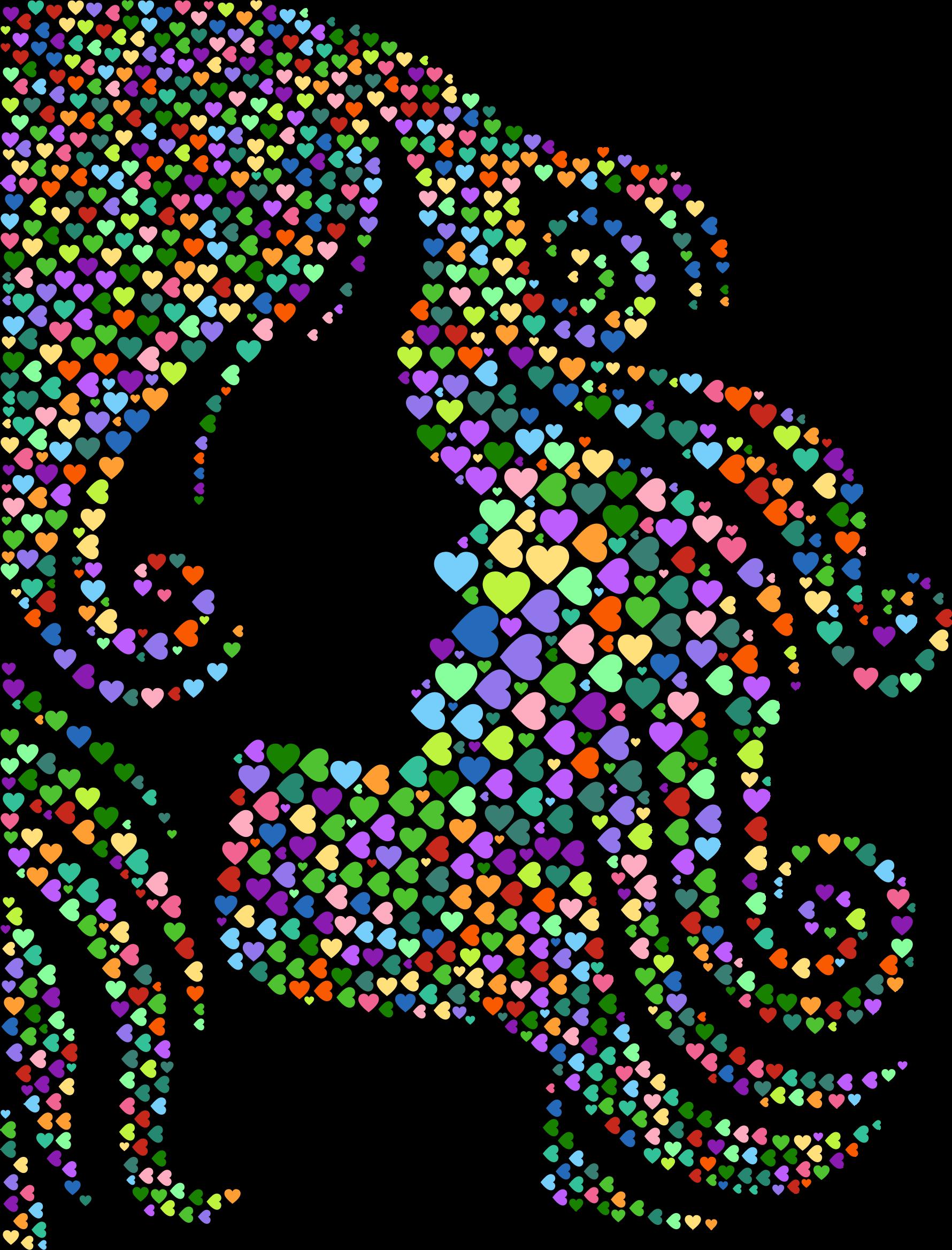 Female clipart graphic designer. Hair profile silhouette hearts