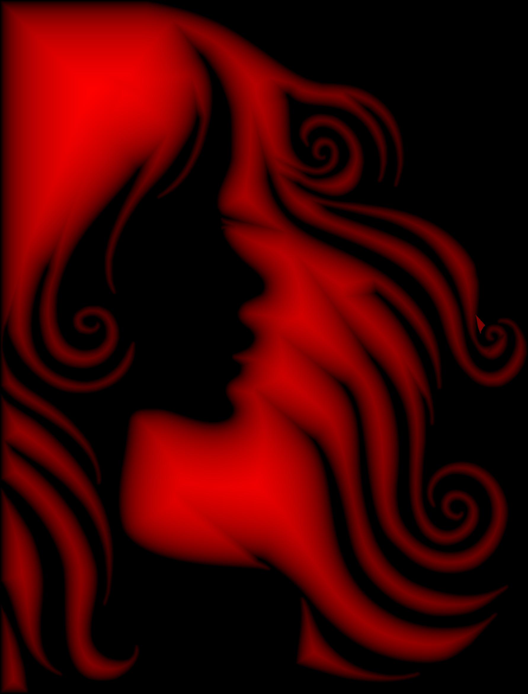 Hair clipart different hair. Female profile silhouette crimson