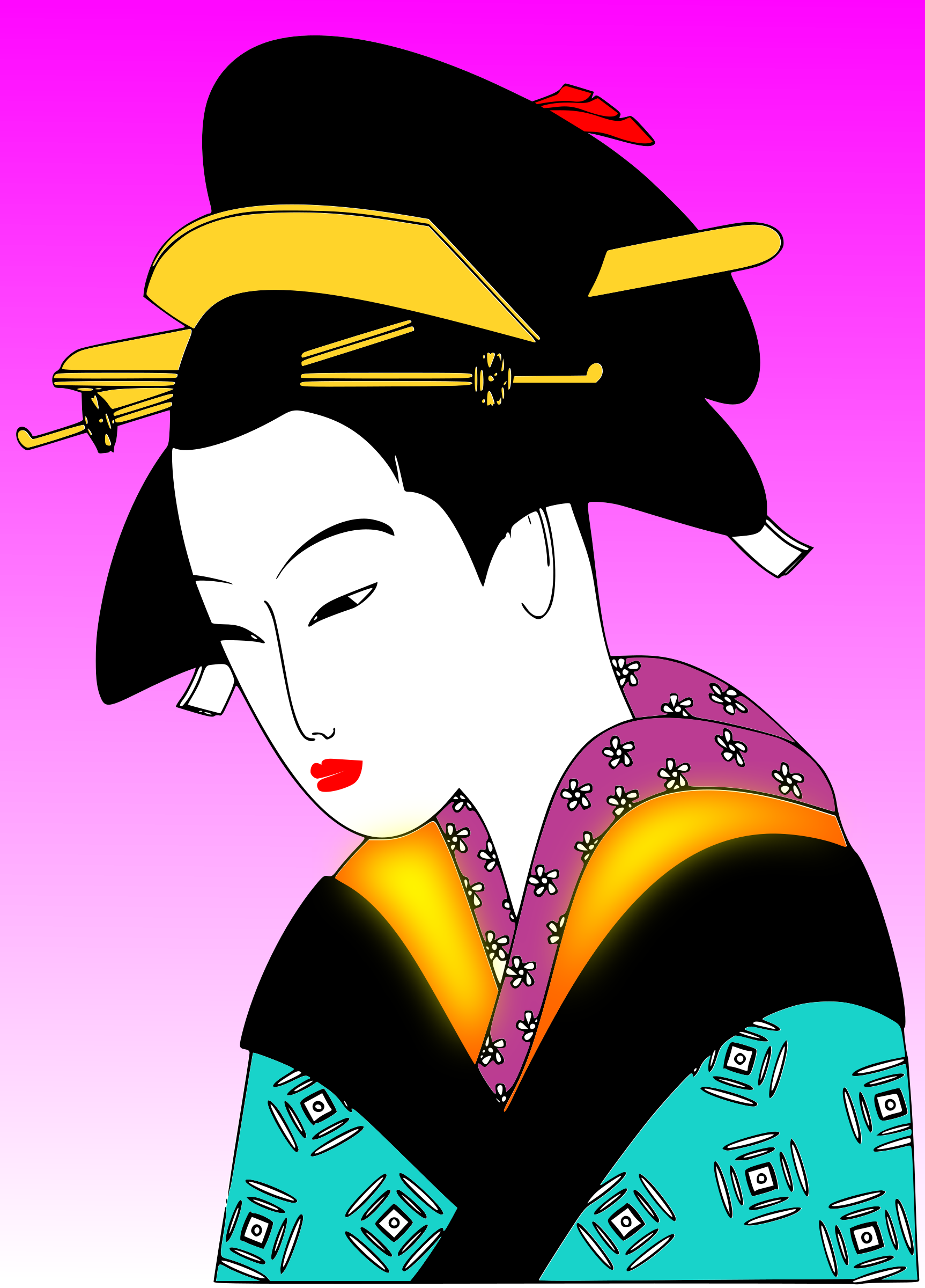 Female clipart graphic designer. Japan woman svg big