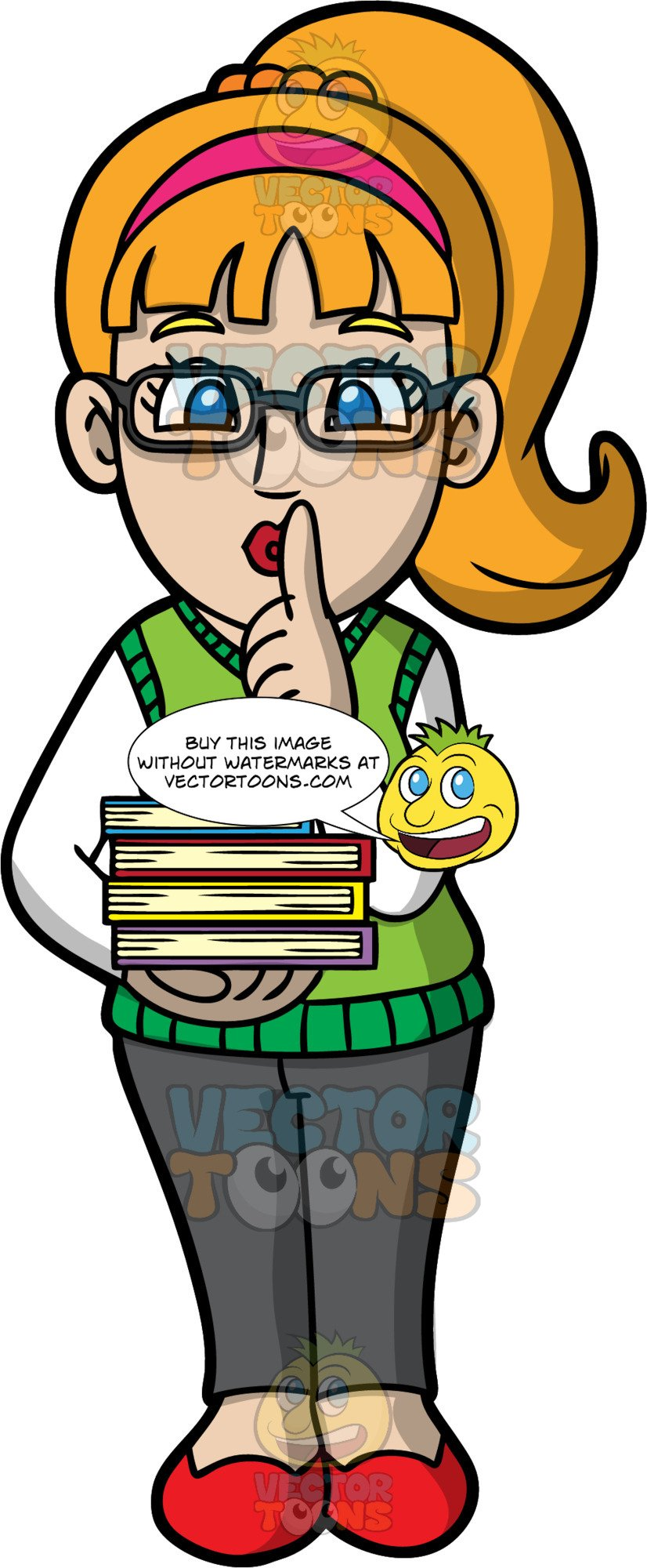 A female indicating to. Librarian clipart quiet
