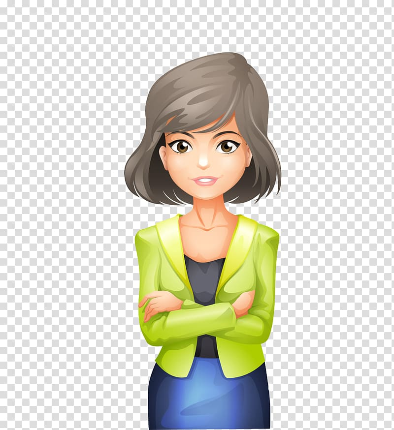 Gray haired woman illustration. Female clipart professional