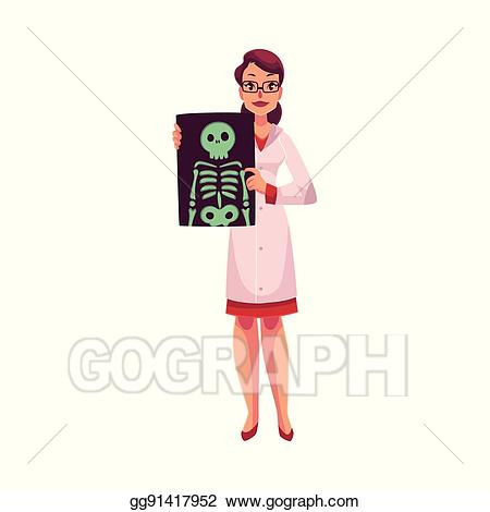 Female clipart radiologist. Clip art vector showing