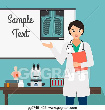 Female clipart radiologist. Vector art character of