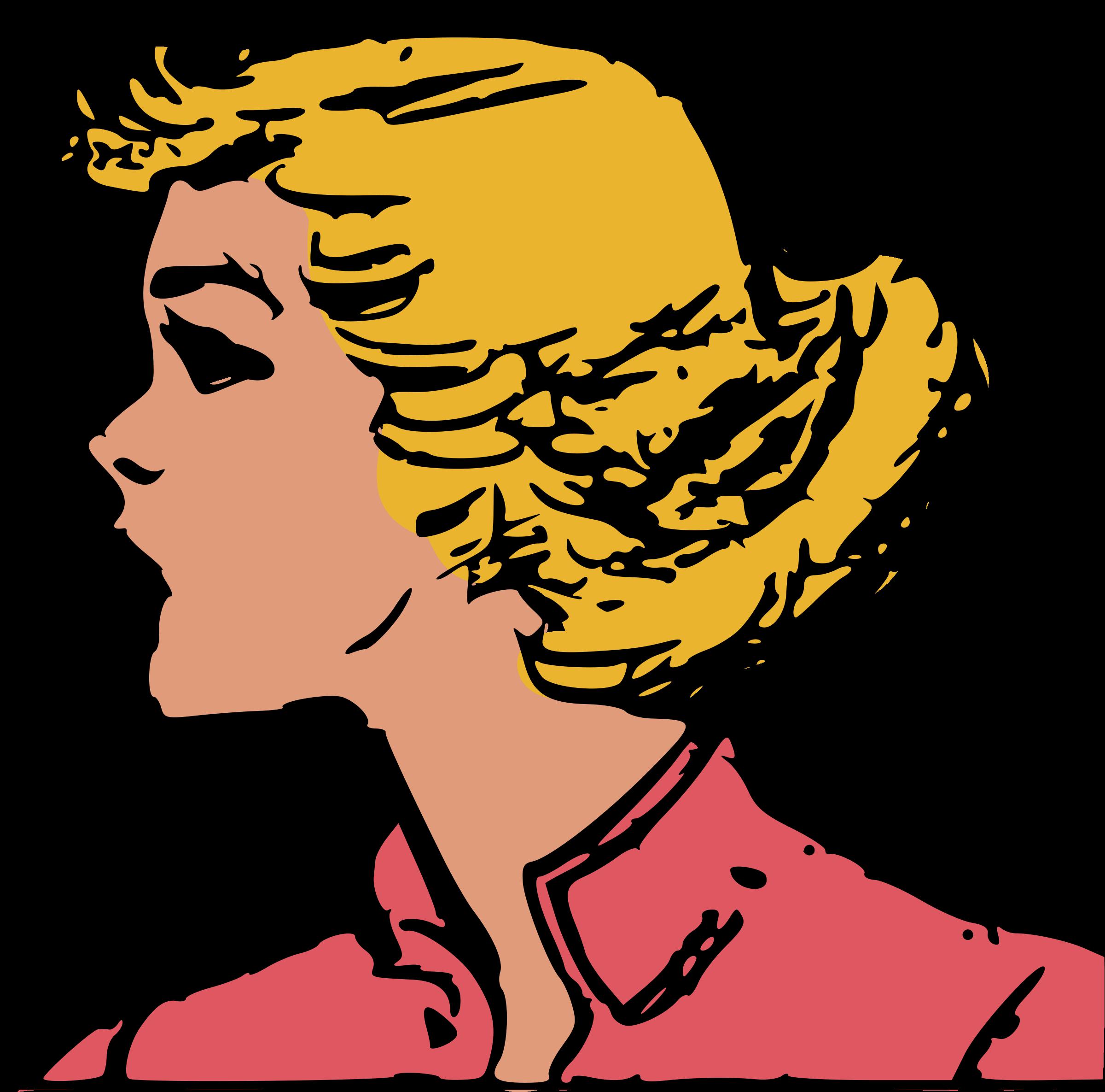 Woman head big image. Female clipart retro