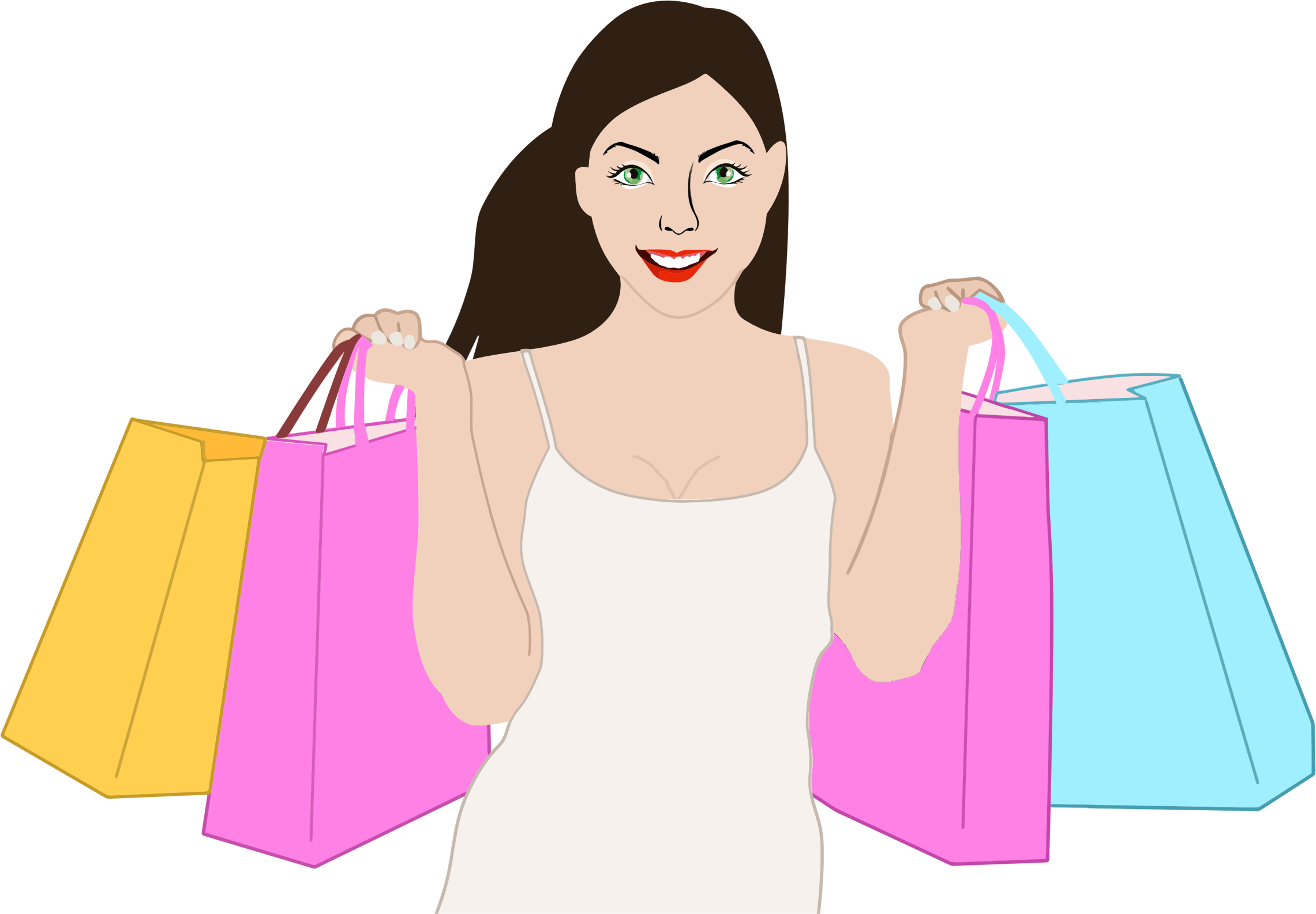 Happy woman big image. Female clipart shopping