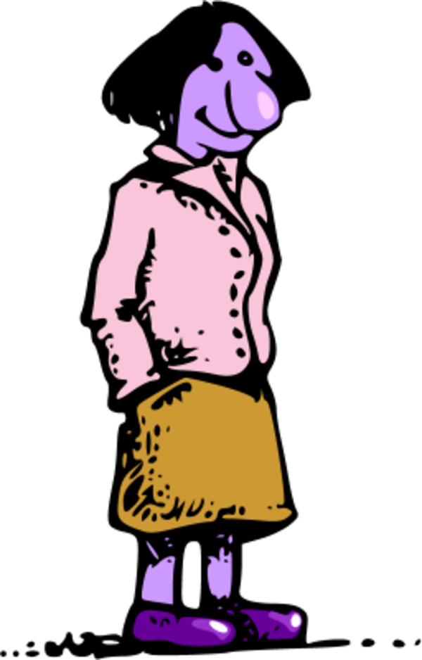 Angry woman cartoon cliparts. Female clipart standing