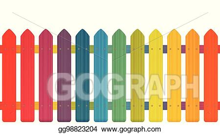 Fence clipart colorful. Vector picket rainbow colors