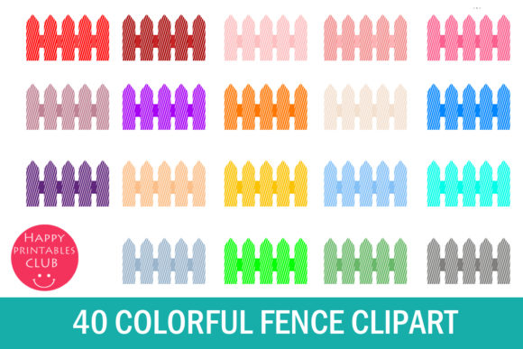 . Fence clipart colorful